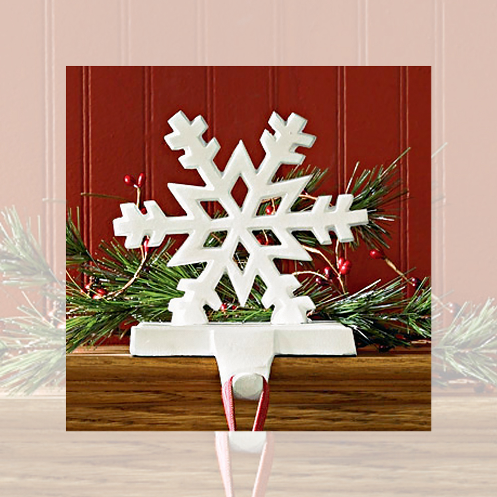 Christmas Stocking Hanger.Snowflake Stocking Hangers Holders Cast Iron Black Or White Set Of 2