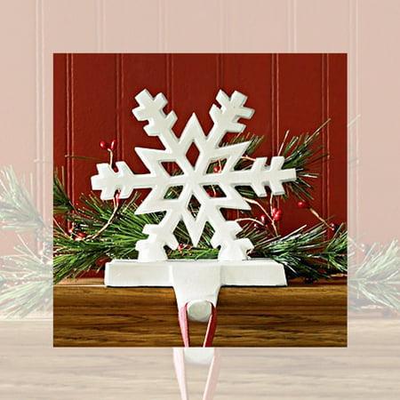 Snowflake Stocking Hanger Holder Cast Iron Black or White ()