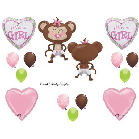 Its A Girl Monkey Wearing Diaper Baby Shower Balloons Decorations Pink Pacifier