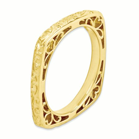 Sterling Silver Stackable Expressions Polished Gold-plate Square Ring Size 6 - image 1 of 3
