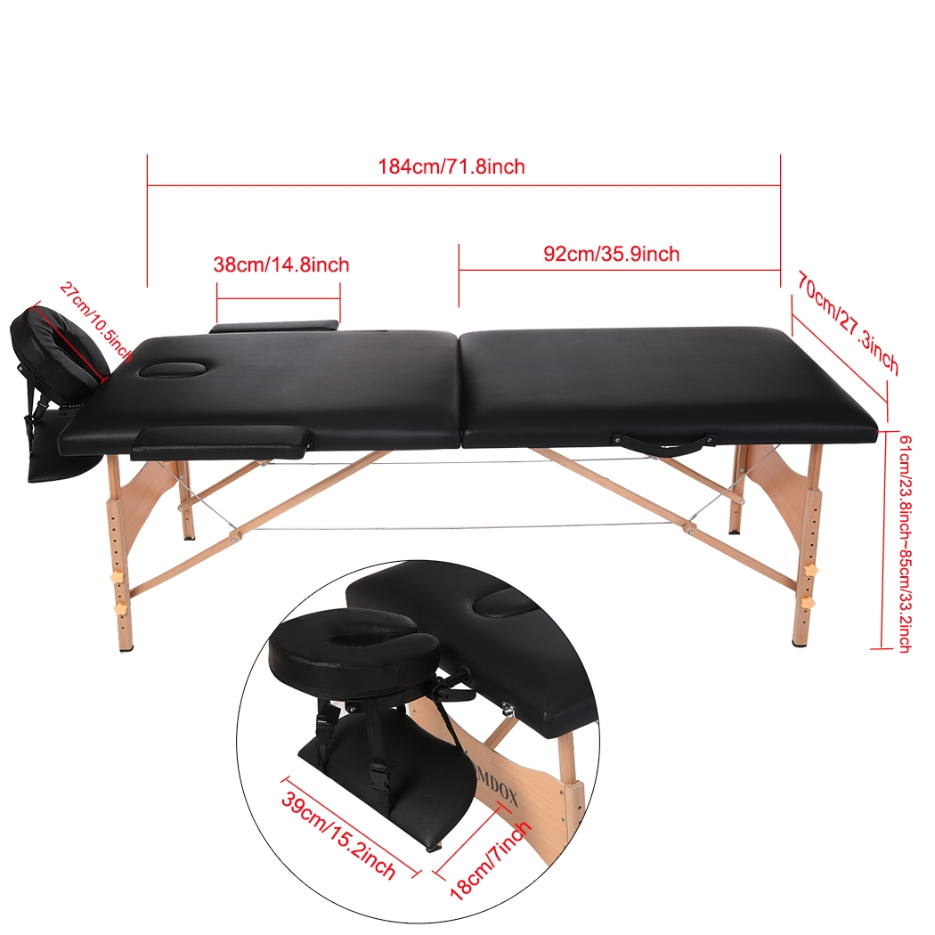 Table Carry Case Chair Bed Spa Portable Two-Fold Pad Faci...