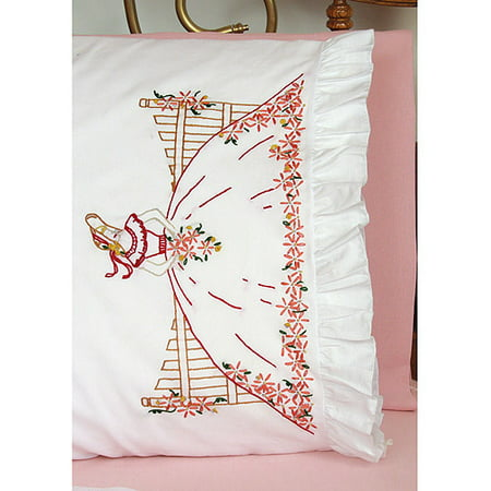 "Fairway Needlecraft Fence Lady Stamped Lace Edge Pillowcase Pair, 30"" x 20"""