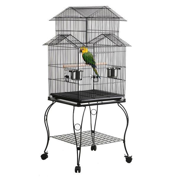 Large Metal Rolling Bird Cage Parrot Aviary Canary Pet Perch w Stand Black by Yaheetech