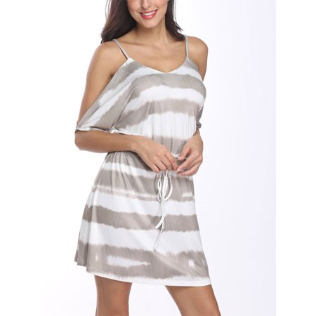 Women Boho Striped Cold Shoulder Backless Casual Beach Lace Up Slip Dress