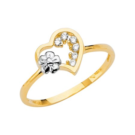 Jewels By Lux 14K Yellow Gold Heart Cubic Zirconia CZ Fashion Anniversary Ring Size 7