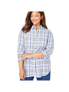 Woman Within Plus Size Classic Flannel Shirt Blouse