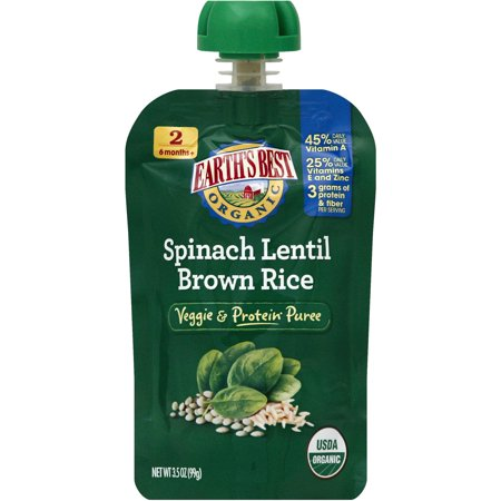 Earth's Best Organic Spinach Lentil Brown Rice Puree, 3.5 oz, (Pack of 6)