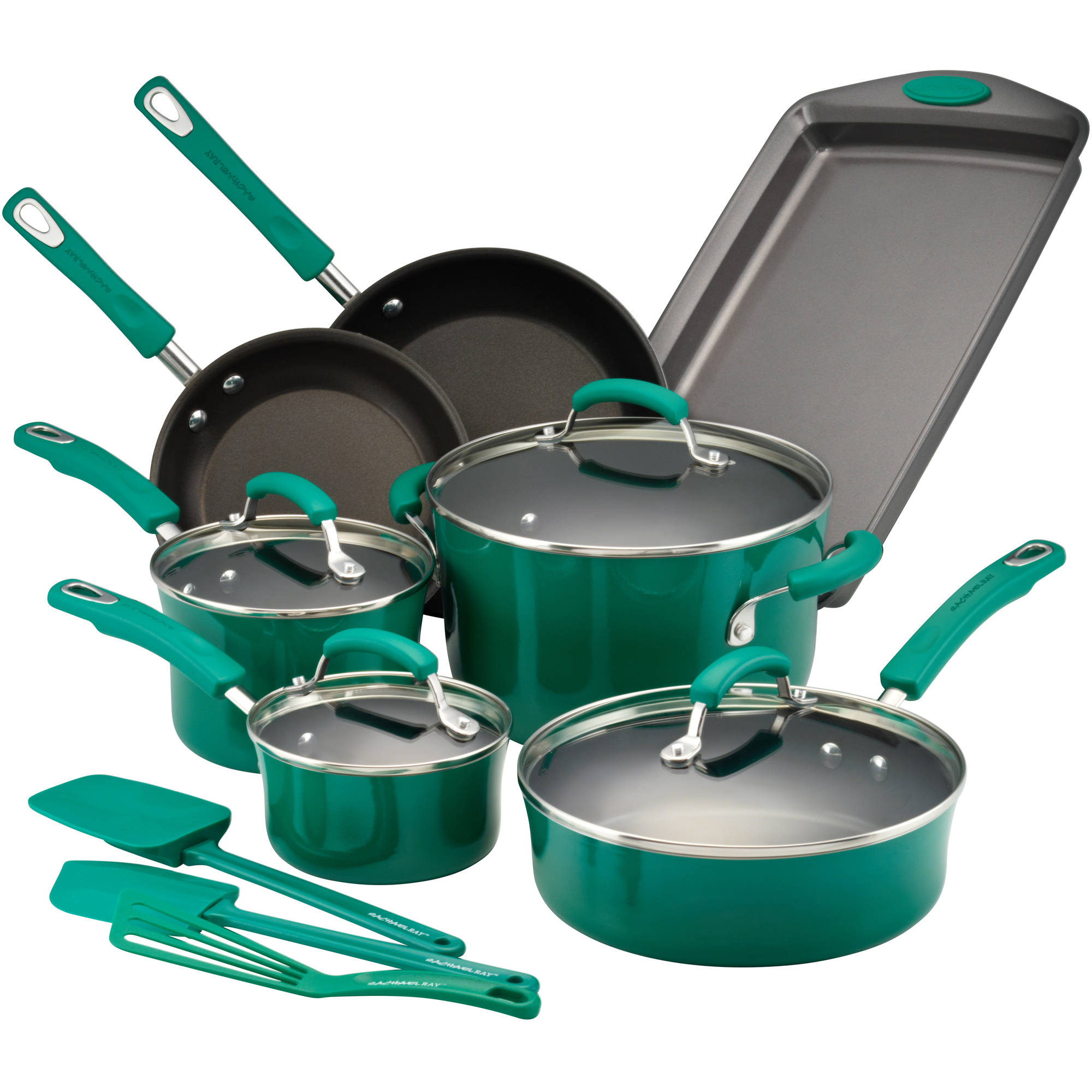 Rachael Ray Hard Porcelain Enamel Nonstick 14-Piece Cookware Set, Fennel Gradient