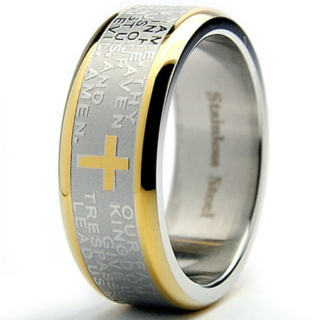 Chocolate Stainless Steel Ring - Men's 8MM Goldtone Plated Stainless Steel Lord's Prayer Ring Sizes 7 to 12