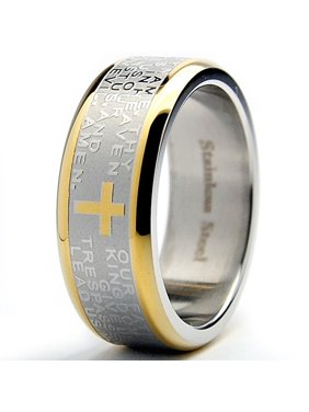 Men's Lord's Prayer Ring Christian Cross Stainless Steel 8MM Goldtone Sizes 7-12