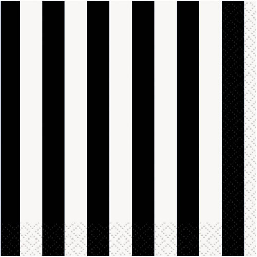 Black Striped Cocktail Napkins, 16pk by Unique Industries