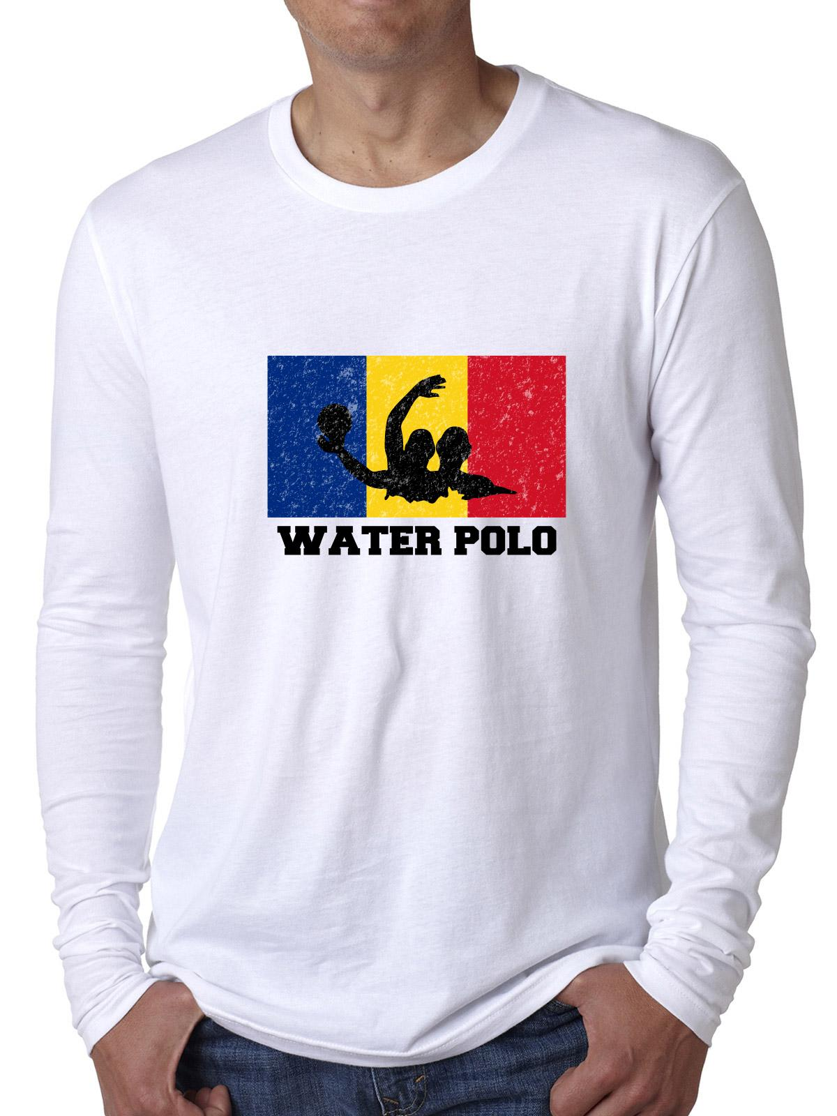 Romania Olympic Water Polo Flag Silhouette Men's Long Sleeve T-Shirt by Hollywood Thread