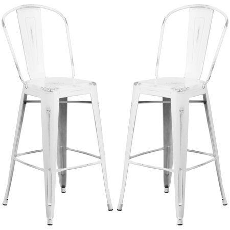 A Line Furniture Distressed White Metal Bar Height Stool ()