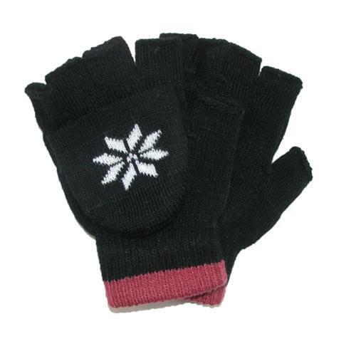 CTM®  Boys Stretch Convertible Fingerless Winter Gloves, Black