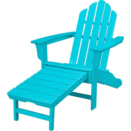 Hanover Outdoor Furniture All-Weather Contoured Adirondack Chair with Hideaway Ottoman, Lime