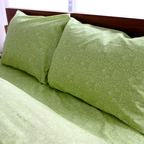 Welspun Amy Butler for  Organic Cotton Sair Bloom Green Floral Sheet Set
