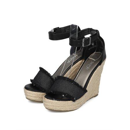 74baf0b9395 Alrisrf - Women Open Toe Frayed Ankle Strap Espadrille Platform Wedge Sandal  HH27 - Walmart.com