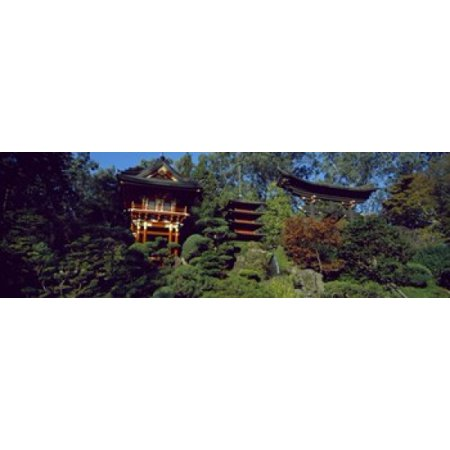 Image of Pagodas in a park Japanese Tea Garden Golden Gate Park Asian Art Museum San Francisco California USA Canvas Art - Panoramic Images (36 x 12)