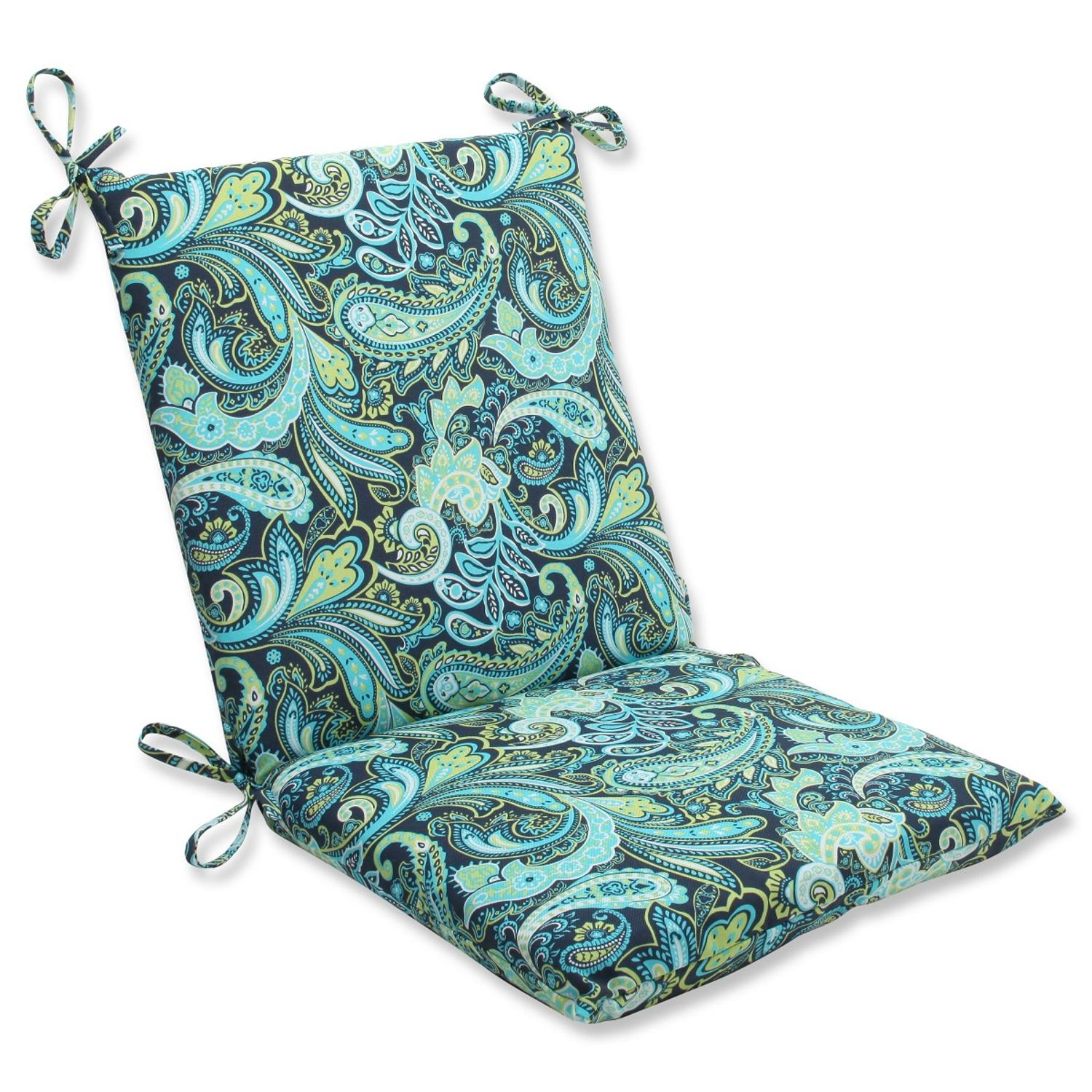 "36.5"" Sogno Paisley Blue, Green and White Outdoor Patio Chair Cushion"