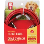 Dogit Tie-Out Cable, Lg, 25`, Red