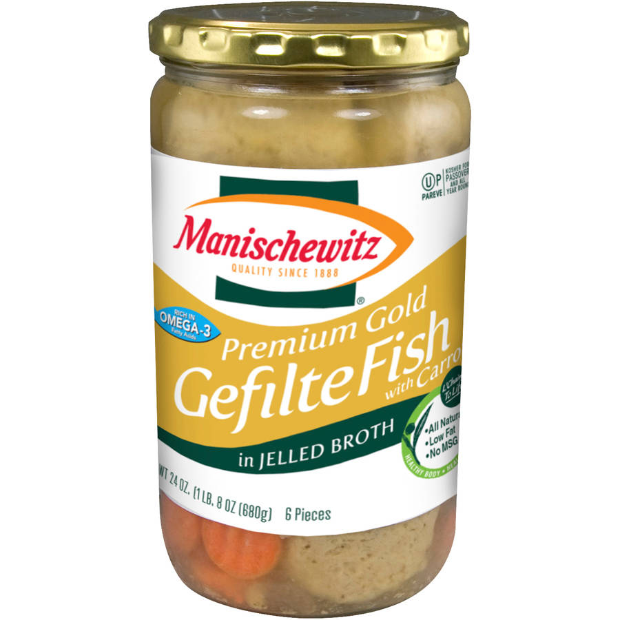 Manischewitz Premium Gold Gefilte Fish with Carrots in Jelled Broth, 24 oz