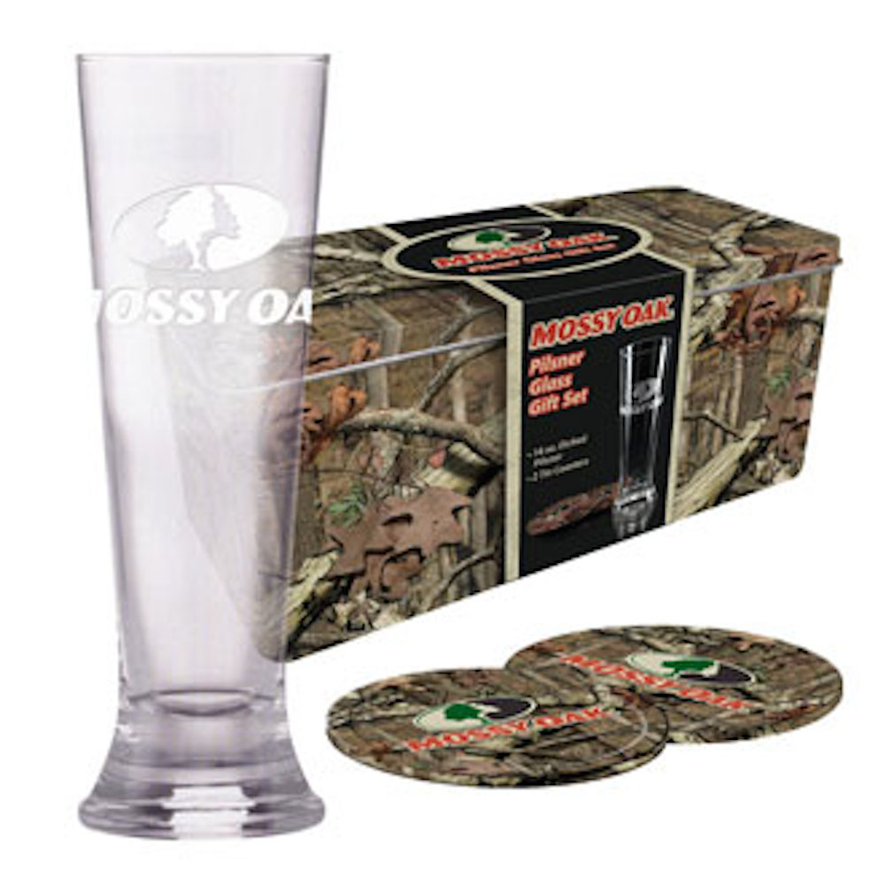 Mossy Oak Pilsner Gift Set with 16oz Hand Blown Pilsner Glass, Coaster MO-68713