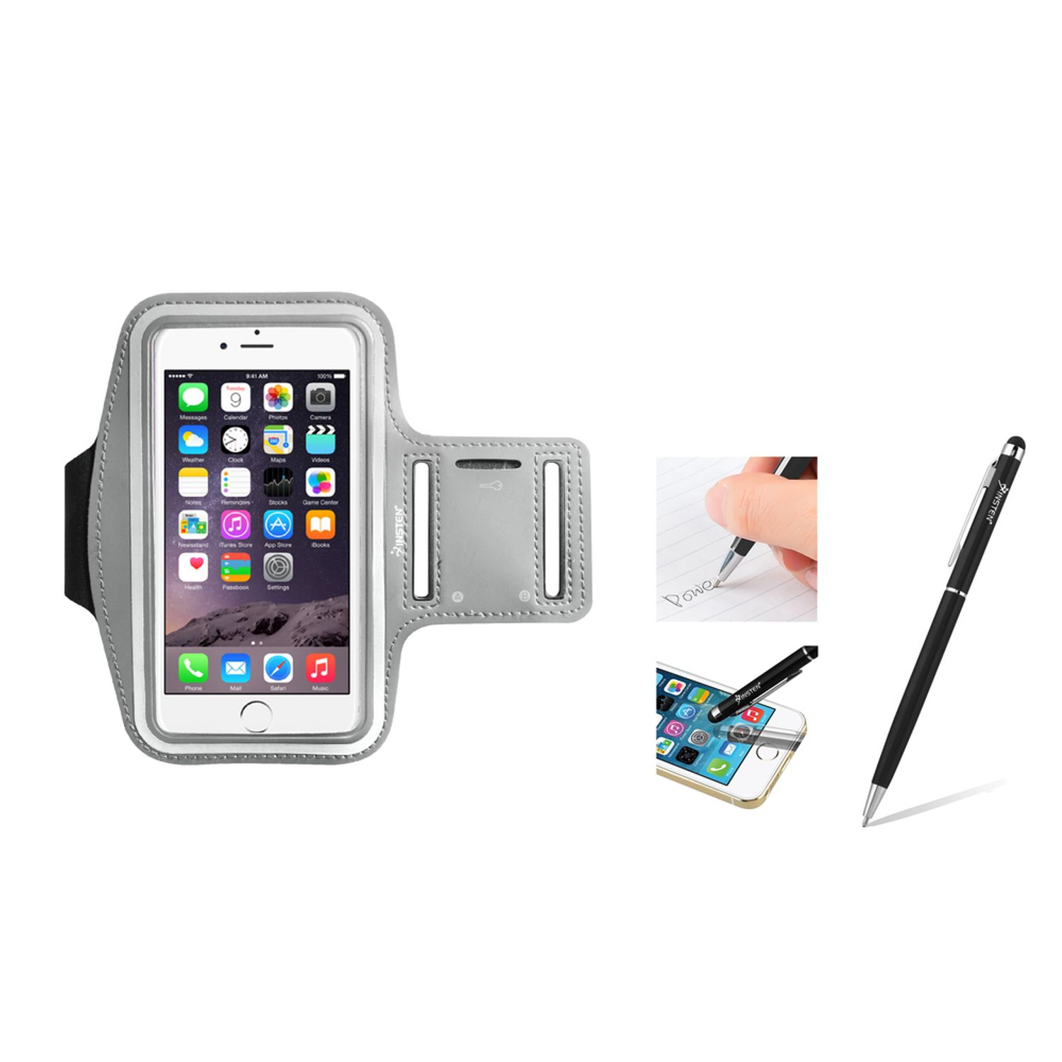 "Insten Silver Armband Gym Case w/ Key Holder For iPhone 6S Plus 6 Plus 5.5"" (with Stylus Ballpoint Pen)"