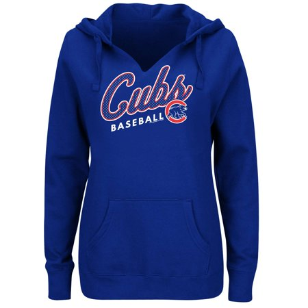 Women's Majestic Royal Chicago Cubs Fresh & Exciting V-Neck Pullover Hoodie (Majestic Ribbed Pullover)