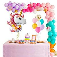 Unicorn Balloon Garland Arch Kit – Giant Unicorn Balloon, Star Balloon, 6 Color Latex Balloon, Confetti Balloon for Baby Shower, Girl Birthday, Unicorn Birthday Party Decoration (red)