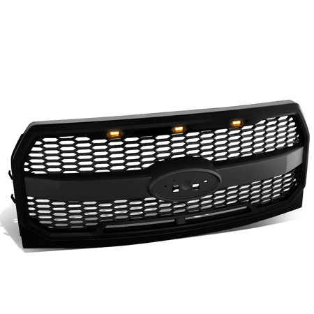 For 2015-2017 Ford F150 Matte Black Honeycomb Style Mesh Front Bumper Grille w/ Shell + LED Lights