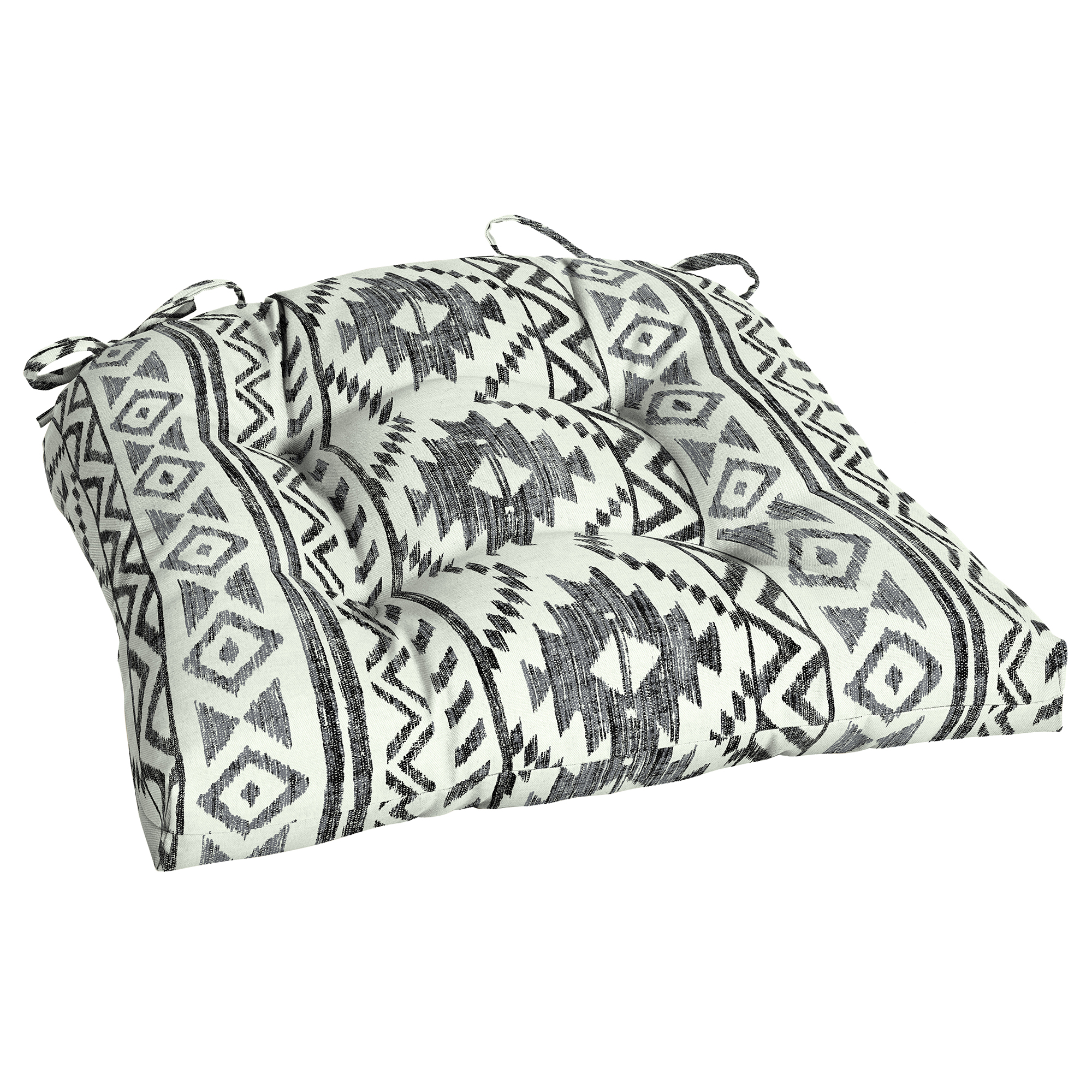 Mainstays Black Global Stripe Outdoor 18 x 20 in. Wicker Seat Cushion
