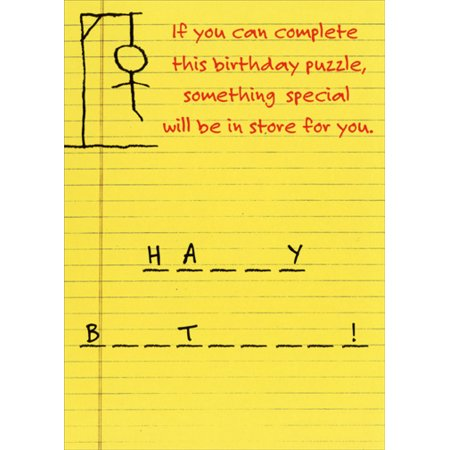 Recycled Paper Greetings Hangman Funny / Humorous Birthday Card - Halloween Greeting Card Sayings Funny