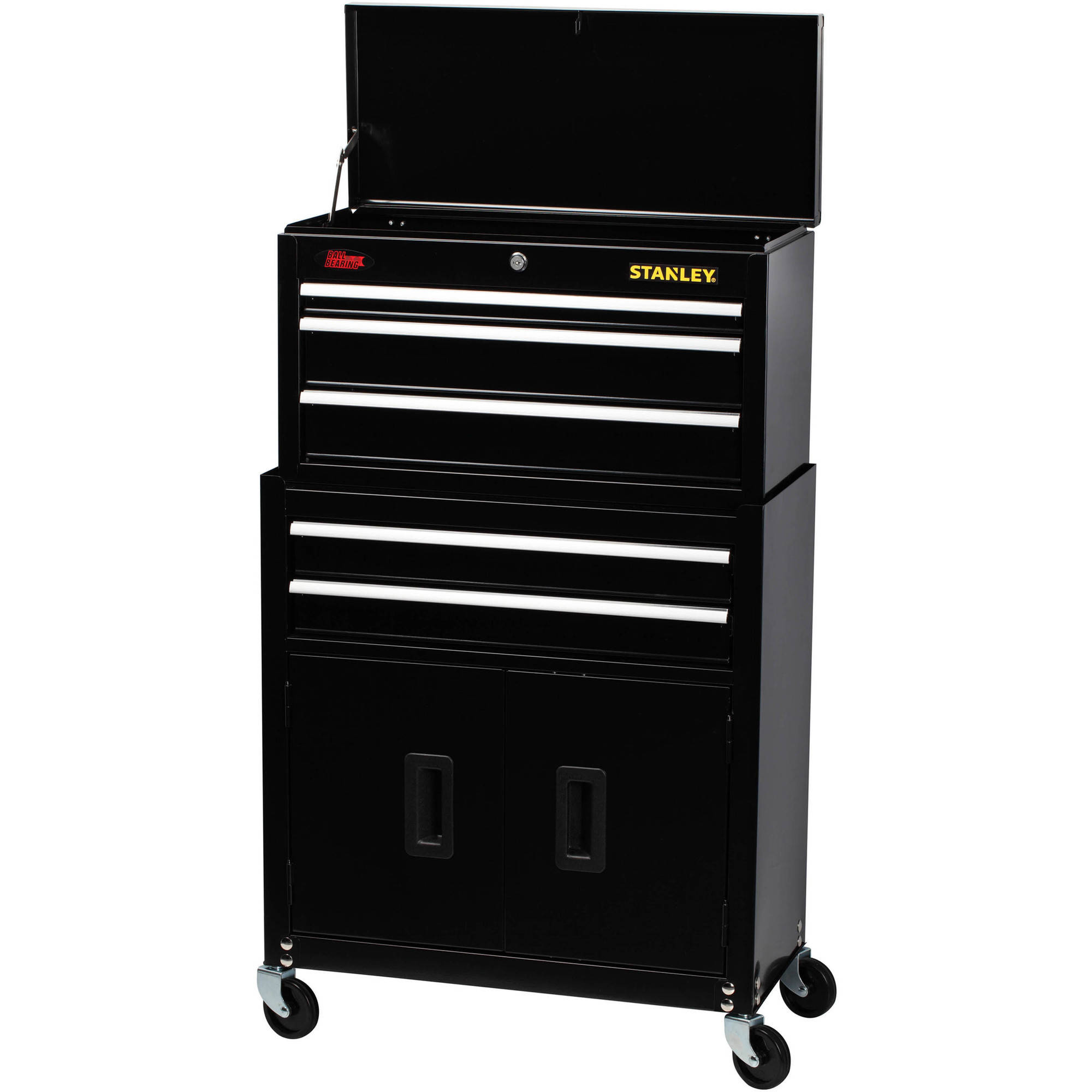 Stanley 5-Drawer Chest and Cabinet Combo with Bi-Fold Doors, Black