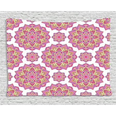 Purple Mandala Tapestry, Shabby Chic Lotus Flower Style Meditation ...