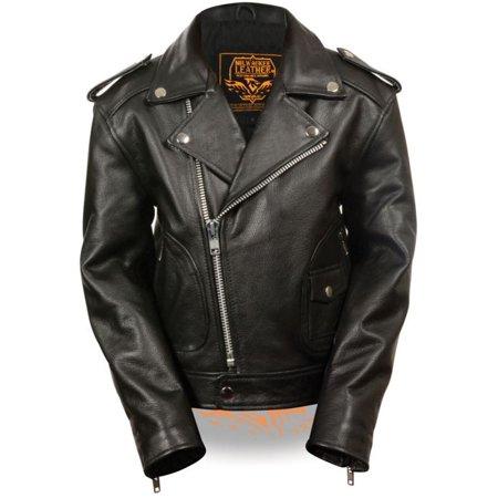 Milwaukee Childrens Biker Jacket w/Patch Pocket Styling Black ()