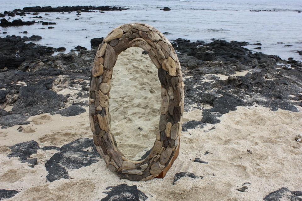 "Driftwood Oval Mirror 24""x40"" Coastal Living by Tikimaster"