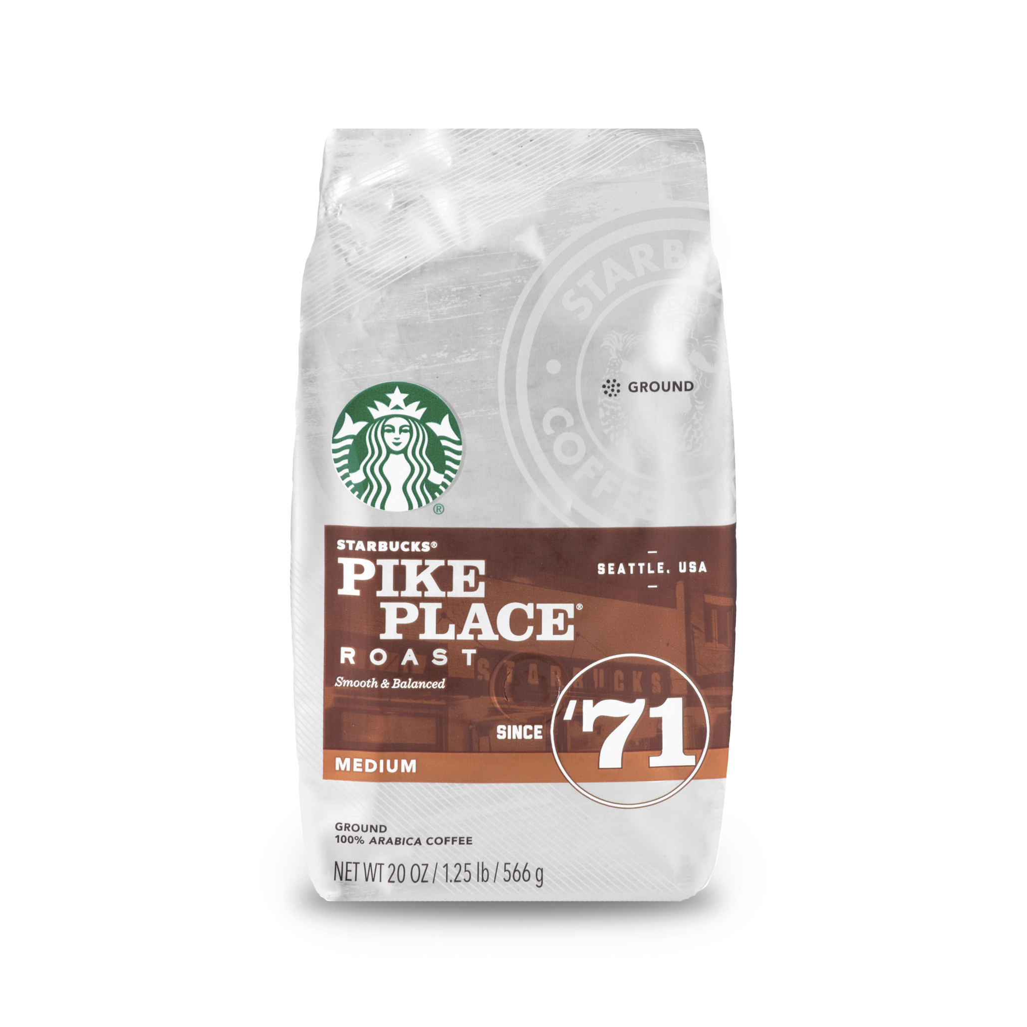 Starbucks Pike Place Roast Medium Roast Ground Coffee, 20-Ounce Bag