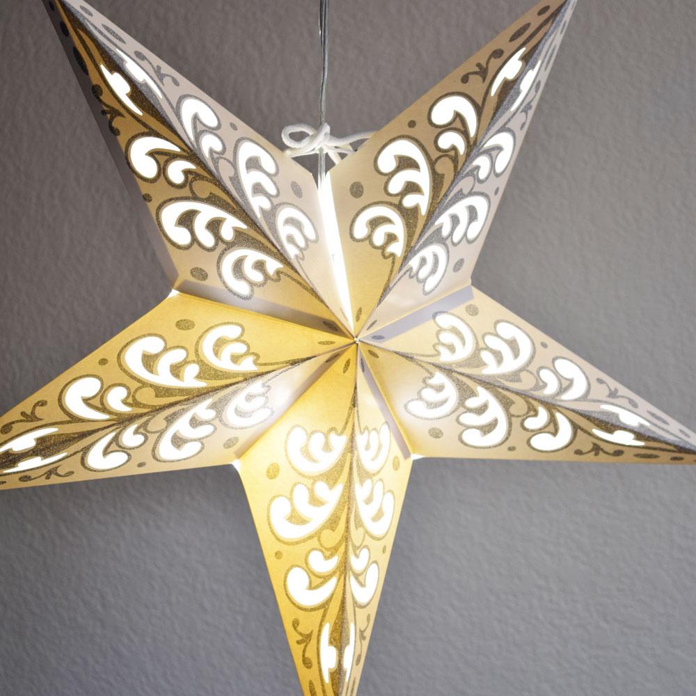 "Quasimoon 24"" Silver Wave Glitter Paper Star Lantern, Hanging by PaperLanternStore"