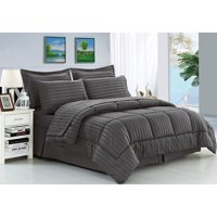 Silky Soft Dobby Stripe Bed-in-a-Bag 8-Piece Comforter Set (Multi Colors)