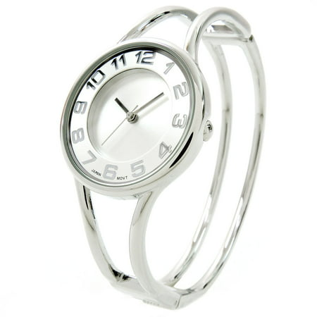 Silver Round Face Metal Double Band Fashion Women's Bangle Cuff Watch (Leather Cuff Bangle Fashion Watches)