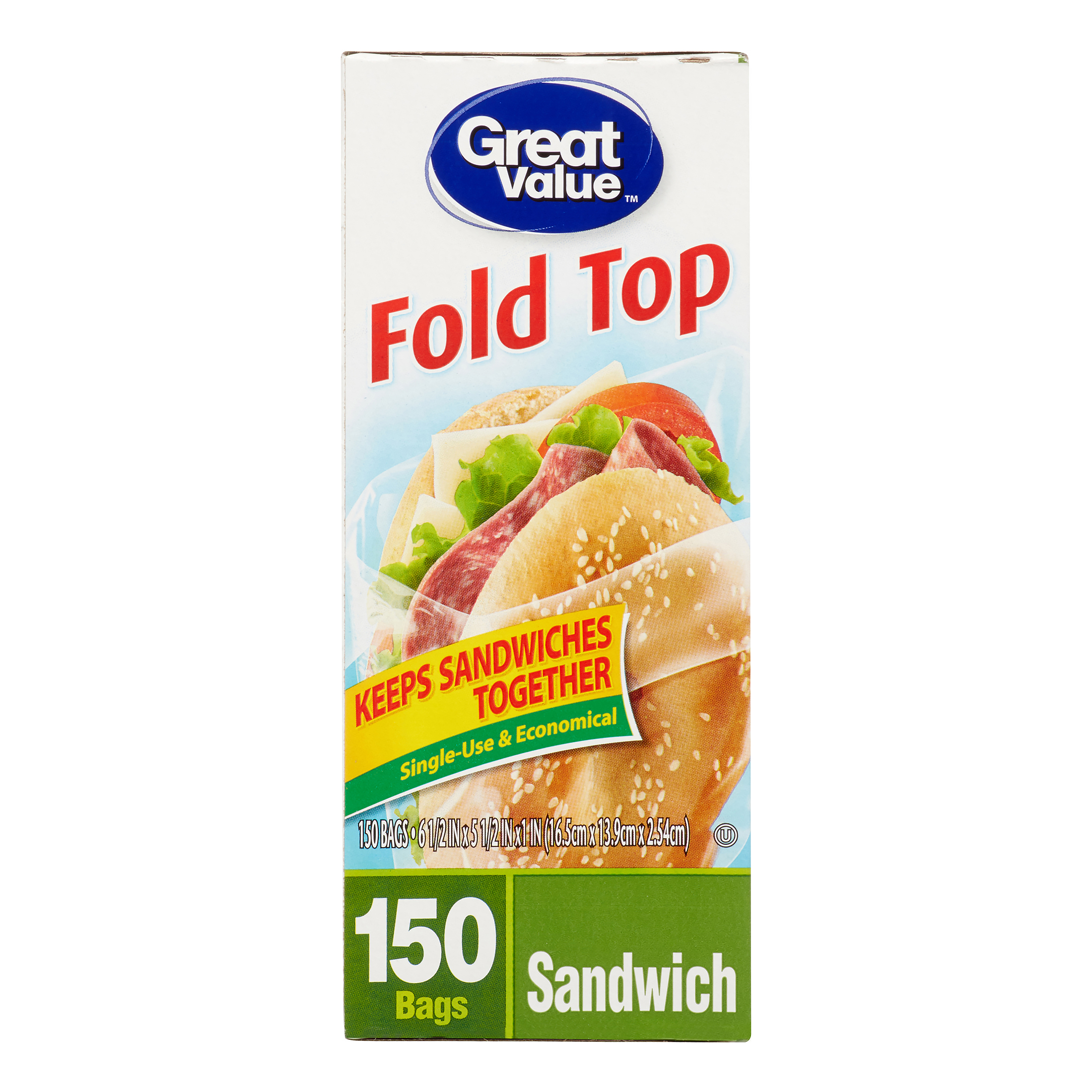 Great Value Fold Top Sandwich Bags, Sandwich, 150 count