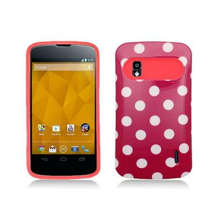 Hot Pink Polka Dot (Hot Pink With Polka Dots Design Hybrid Hard Case Cover for Google Nexus)