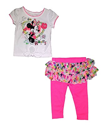 [P] Disney Toddler Girls' Minnie Mouse Happy Infant and Toddler Tee Shirt Flounced Legging 4T
