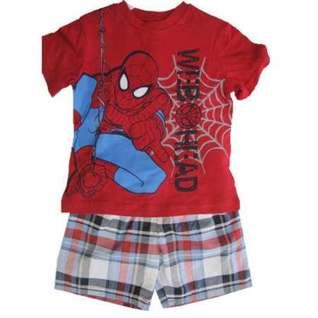 Little Boys Red Grey Spiderman Web Head Plaid 2 Pc Shorts Set 4T ()