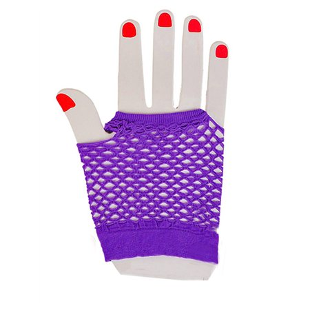 Adults  Neon Purple Fishnet Fingerless 80s Rock Costume Half Gloves