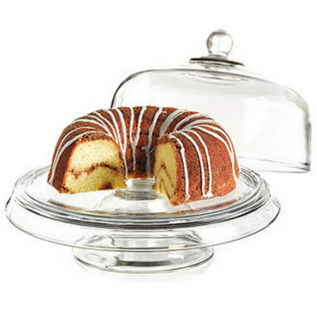 Crystal Cake Platter - Anchor Hocking Presence 4-in-1 Cake Set, Dome & Platter
