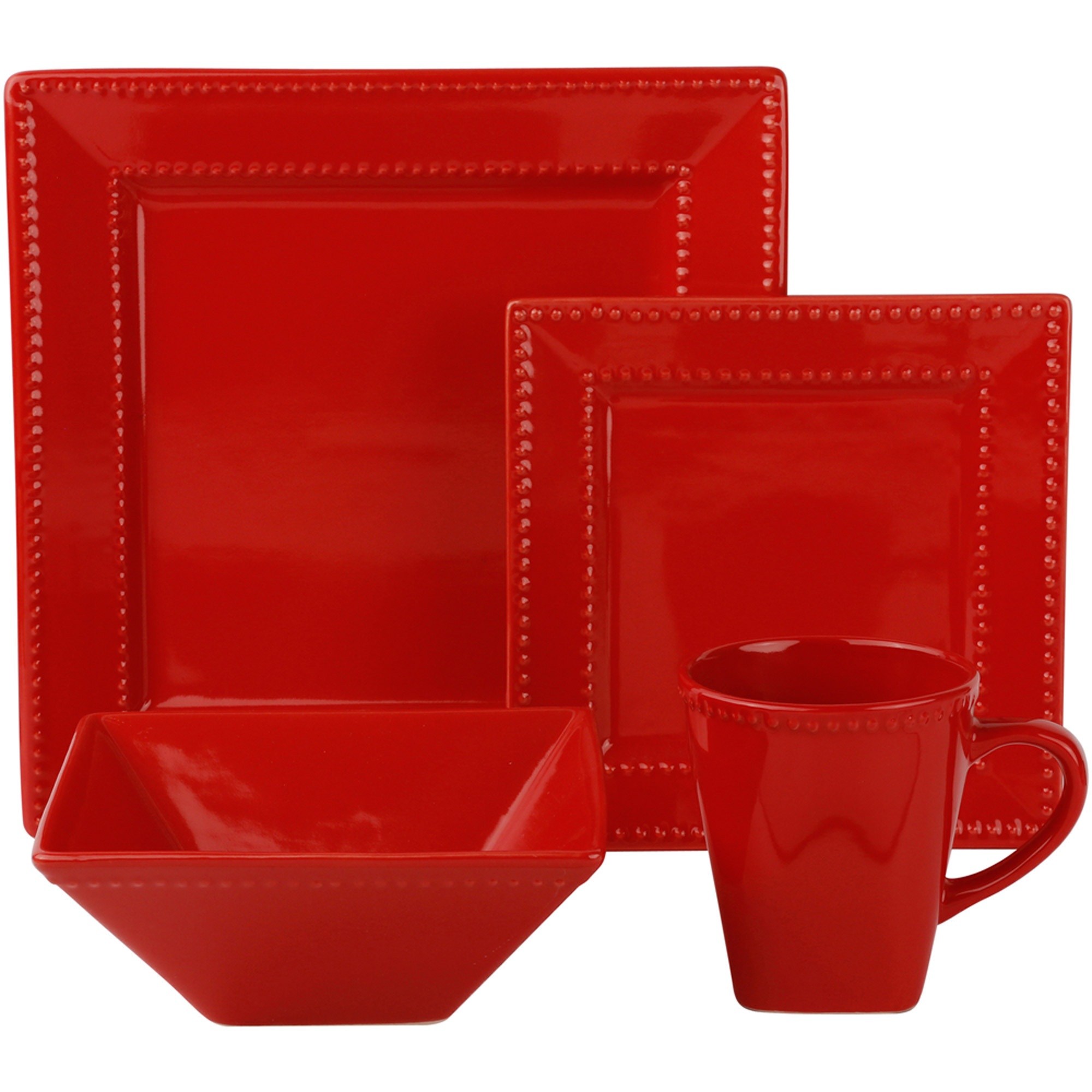 Tabletops Unlimited Rebecca 16pc Soft Square Porcelain Dinnerware Set    Walmart.com