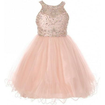 Little Girls Dress Sparkle Rhinestones Holiday Christmas Party Flower Girl Dress Blush Size 4 (M10BK50)