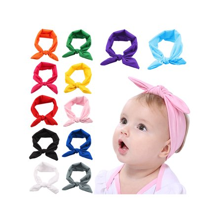 Baby Headbands, Coxeer 12 Pcs Infant Headbands Elastic Rabbit Ear Hairband Bow Headwarp for Toddler Baby Girls Kids (Pig Ear Headband)
