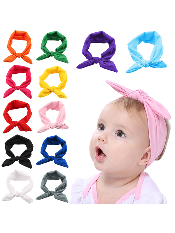 Baby Headbands, Coxeer 12 Pcs Infant Headbands Elastic Rabbit Ear Hairband Bow Headwarp for Toddler Baby Girls Kids